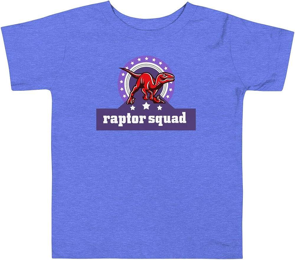 GoodtoGo Designs Raptor Squad Dinosaur Toddler Short Sleeve Tee Heather Columbia Blue