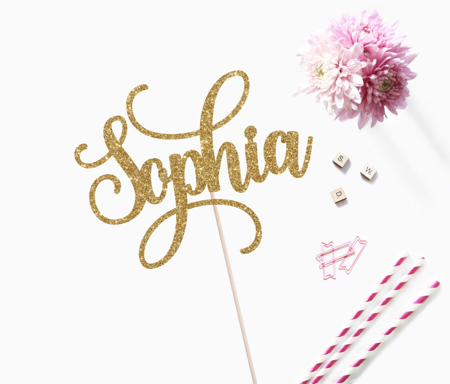 Personalized Cake Topper With Name And Number Custom Card Stock Topper