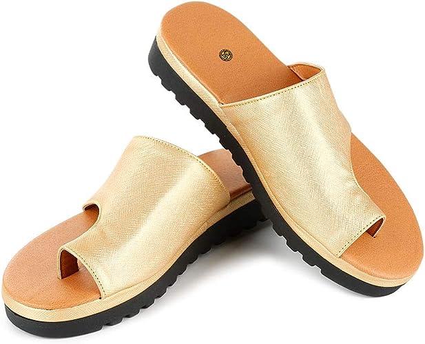 Winsummer Women Bunion Sandal Platform Wedge Slippers Orthopedic Flip Flops Summer Beach Big Toe Foot Correction Shoes