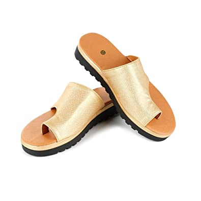 Amazon.com | Women Comfy Sandals Bunion Corrector Open-Toe Platform Shoes Feet Correcting Slip-on Flat Sole Sandal Comfy Semi-Slip Orthopedic Deformity ...