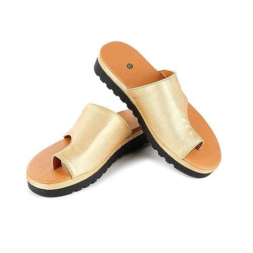 Mujeres Comfy Sandalias Corpiño Corrector Punta Abierta Zapatos de Plataforma Pies Corrección Slip-on Suela Plana Sandalia Comfy Semi Deslizante Ortopédica ...