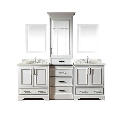 . DKB 85  Inch Clifford Series Double Sink Bathroom Vanity Set In