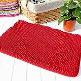 """Hughapy® Red Non Slip Microfiber Carpet / Doormat / Floor mat / Bedroom / Kitchen Shaggy Area Rug Carpet (23.6""""x 15.7"""")"""