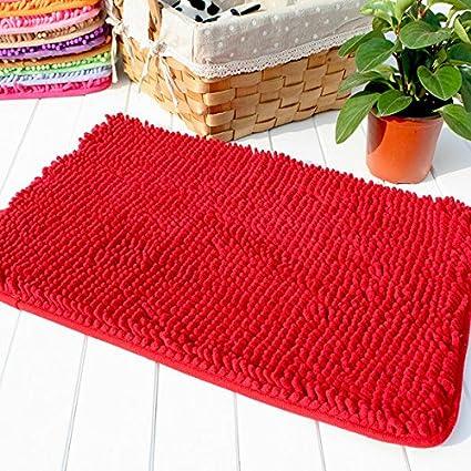 Hughapy Red Non Slip Microfiber Carpet / Doormat / Floor Mat / Bedroom /  Kitchen Shaggy