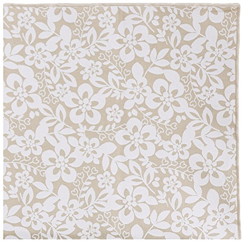 Tan and White Floral with Wooden Button Men's Pocket Square by The Detailed Male by The Detailed Male (Image #3)