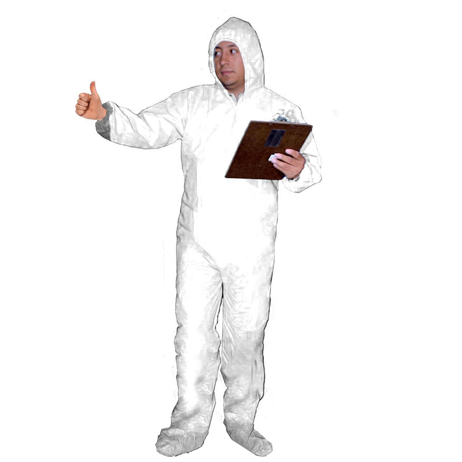 Elastic Wrists and Back 4X-Large White Disposable Enviroguard 70 GSM Fabric SMS Plus Coverall with Attached Hood and Boots Case of 25