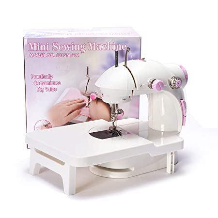 dilib Mini Sewing Machine with Extension Table - Double Speed Portable Electric Sew Machine with Foot Pedal
