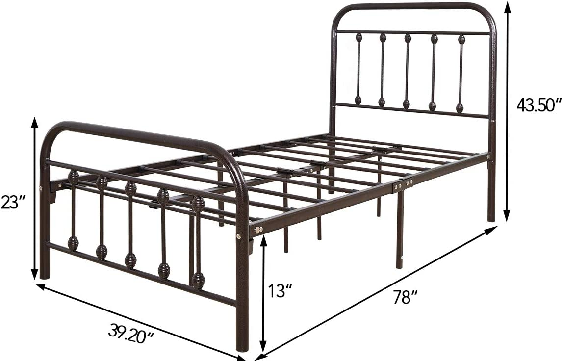 Metal Bed Frame Queen Size Platform with Vintage Headboard and Footboard Sturdy Metal Frame Premium/Steel Slat Support Bronze