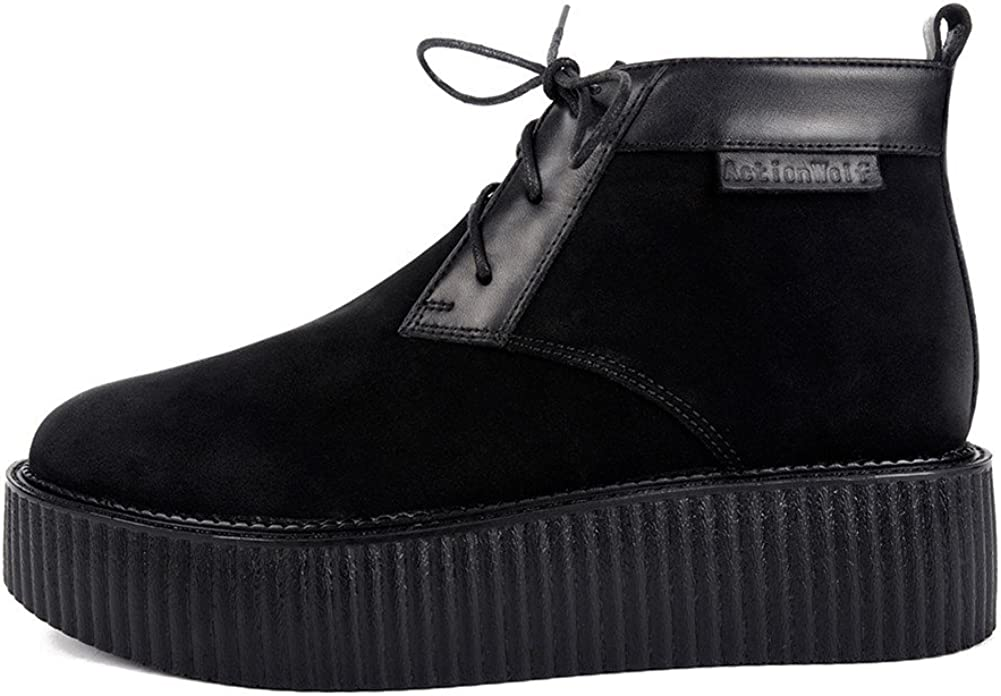 Mens Genuine Leather Lace Up Platform Derby High Top Creepers Martin Boots