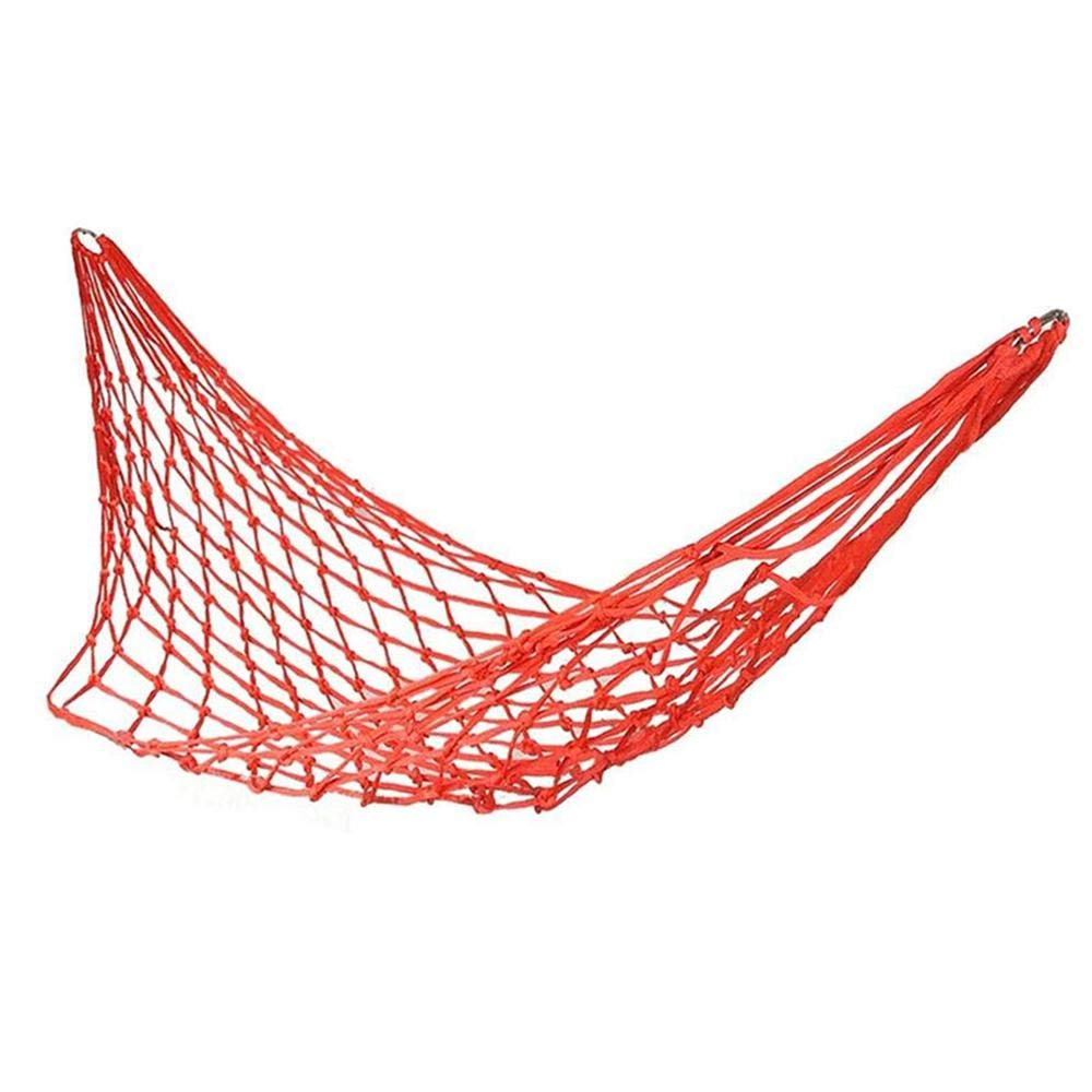 AOLVO Campeggio Amaca a Rete Outdoor, Patio Sonno Mesh Amaca Nylon Hanging Bed for Hiking Camping Outdoor Travel Sports Beach Yard Garden Red