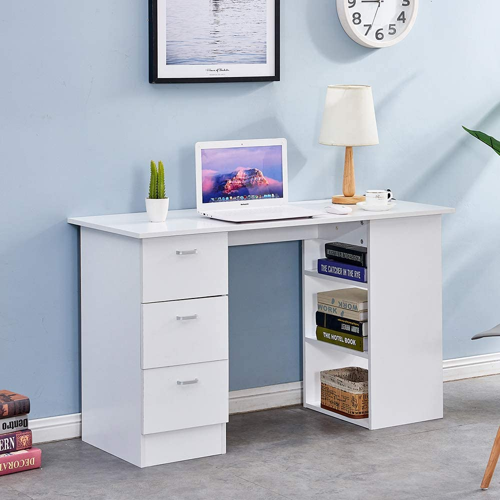 Wooden Writing Table with 3 Drawers and 3 Tier Shelves PC Laptop Gaming Study Home Office Workstation Walnut Sanery Modern Design Computer Desk