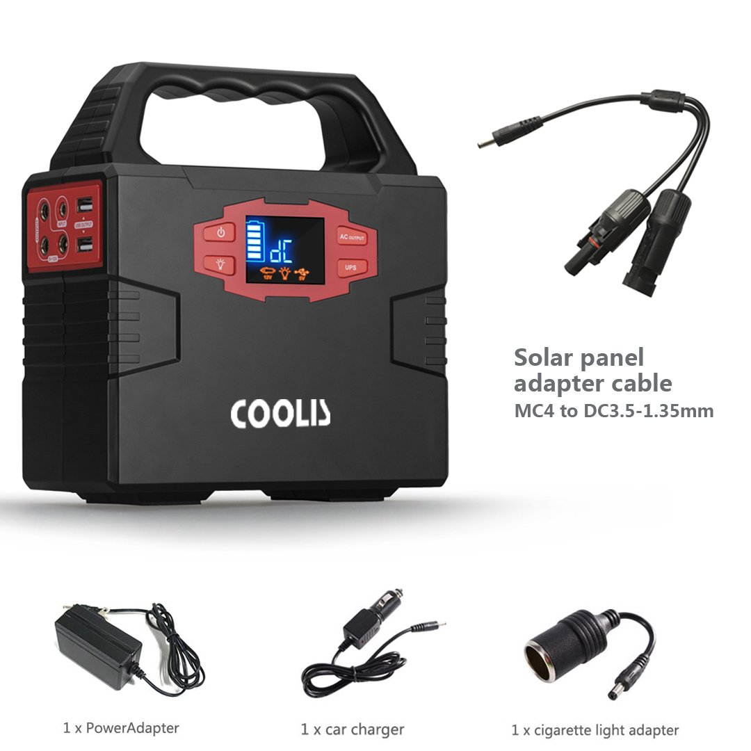 Coolis 150Wh Portable Solar Power Inverter Generator, Power Supply Source with Silent 110V AC / 12V DC / 5V USB Output, 40800mAh Lithium Polymer Battery