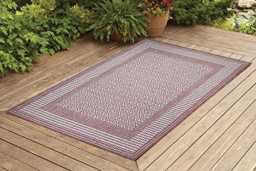 Benissimo Indoor Outdoor Rug Tile Collection Non-Skid, Natural Sisal Woven and Jute Backing Area Carpet for Living Room, Bedroom, Kitchen, Entryway, Hallway, Patio, Farmhouse Decor 8×10, Brick