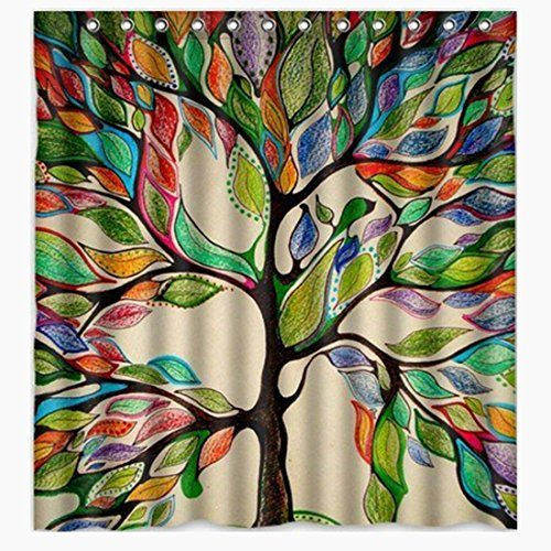 "ONEONEY Colorful Tree of Life Gorgeous Like Feather Bathroom Shower Curtain - Custom Polyester Fabric Kids Decorative Curtain Ideas (72"" W x 72"" H)"
