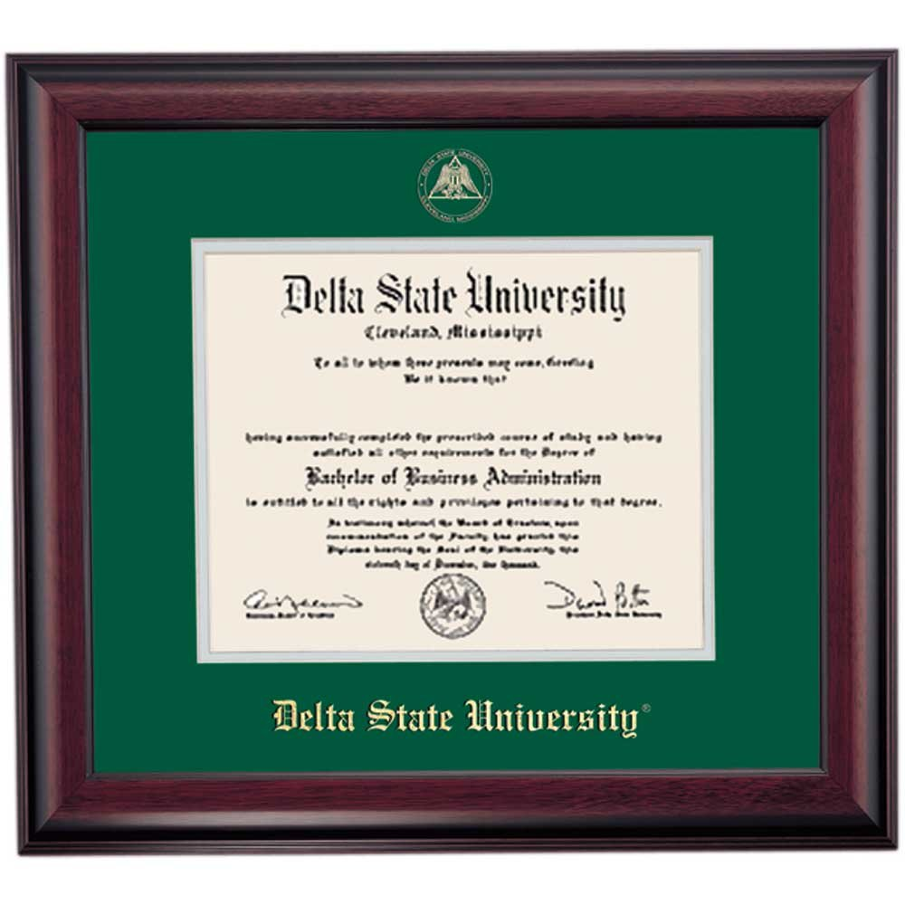 Campus Linens Delta State Statesmen Diploma Frame Green Gray Matting Embossed Seal by Campus Linens (Image #1)