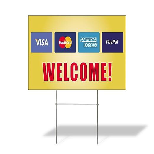 Cartel de Destino Bienvenido! .Visa .Mastercard.Paypal ...