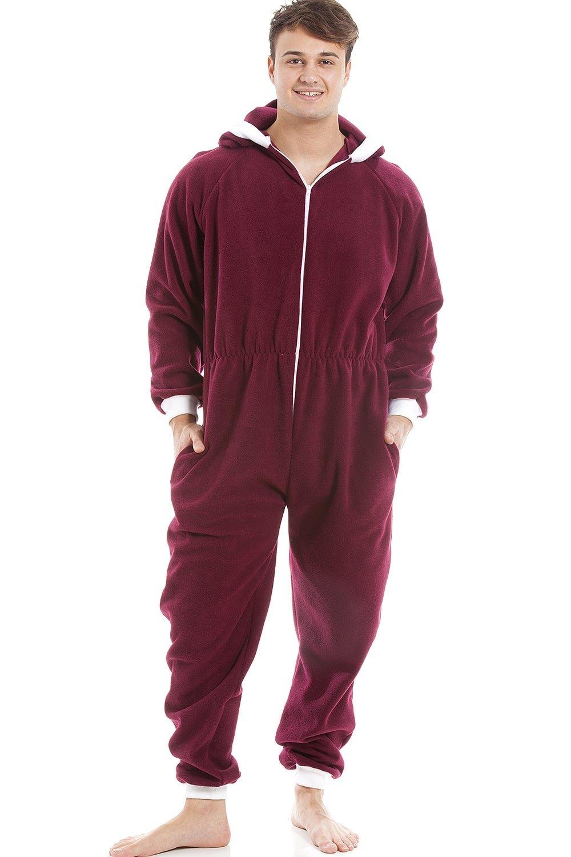 Camille Mens Burgundy Red Supersoft Fleece Zip Front Hooded Onesie