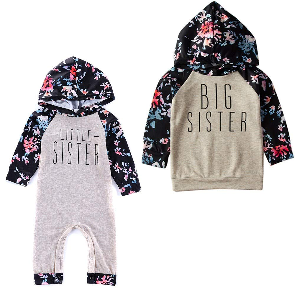 Color : Grey, Size : Big Sister-2Y-3Y Puseky Baby Girls Big Little Sister Traje a Juego Sudadera con Capucha Floral Top Romper Jumpsuit