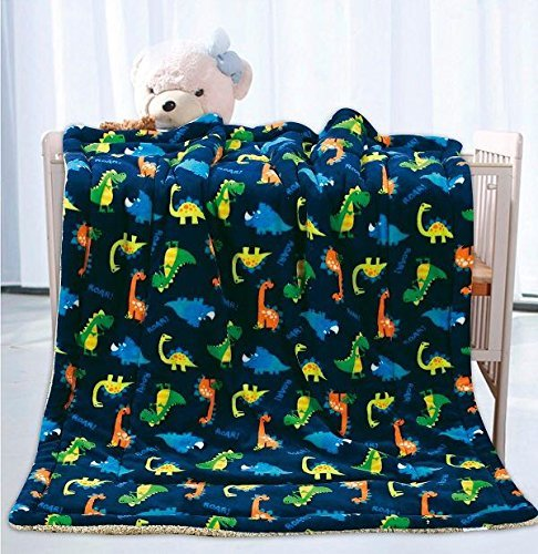 Fancy Linen Faux Fur Flannel Borrego Soft Baby Throw Blanket with Sherpa Backing Warm and Cozy Stroller or Toddler Bed Blanket 40″x 50″ Navy Blue Dinosaurs