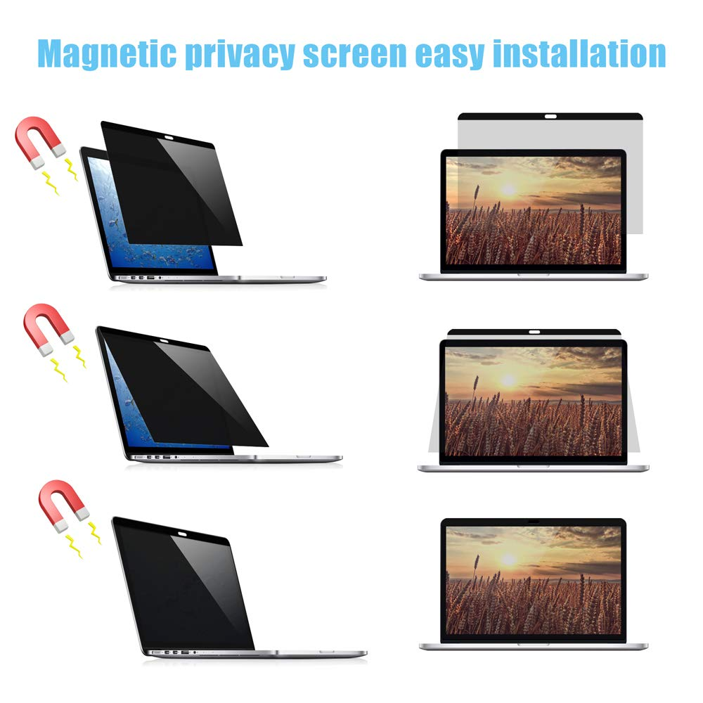 VIYOYA Magnetic Privacy Screen Protector, Easy On/Off Anti-Glare & Blocks 97% UV, Anti-spy Screen Protector Filter Compatible MacBook Pro 13 Inch 2016,2017,2018 Version [Models:A1706/ A1708 /A1989] by Viyoya (Image #6)