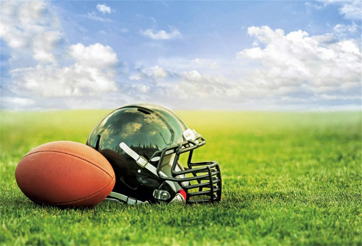 YEELE Rugby Photography Backdrop 10x8ft Rugby Helmet with Ball on Green Grass Under Blue Sky Background Sport Themed Superbowl Photos Rugby Get-Together Soccer Picture Photobooth Digital Wallpaper
