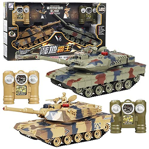 Kikioo 2.4GHz Radio Remote Controlled US M1A2 VS German Leopard 2 Remote Contro Tank RC 1:24 Scale Airsoft + Effects + Smoke Artillery+Shoots High Speeds Simulation Army Battle Kit Model For Kids Gift ()