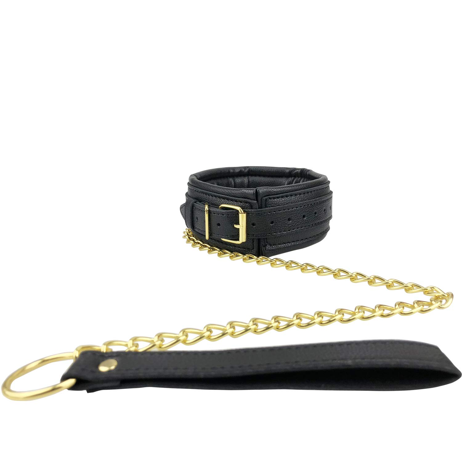 Soft Touch Choker Collars PU Leather Necklace with Gold Chain Leash for Women Men