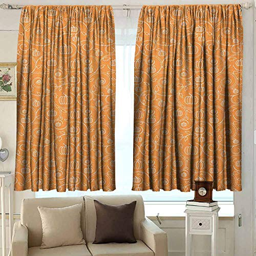 (AFGG Small Window Curtains Harvest Pattern with Pumpkin Leaves and Swirls on Orange Backdrop Halloween Inspired Insulated with Curtains for Bedroom 63 W x 45 L Inches Orange White )