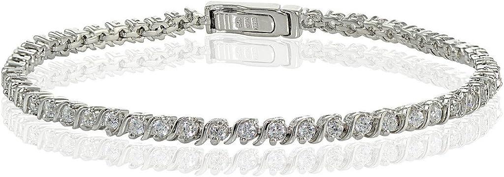 Hoops /& Loops Sterling Silver Cubic Zirconia 2mm Round-Cut S Design Tennis Bracelet