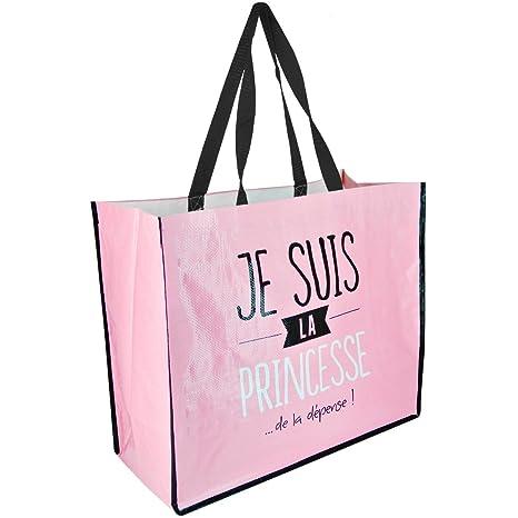 info pour 30828 23f4f Promobo - Sac Cabas Pour Courses Shopping Inscription Fun Je Suis La  Princesse Rose