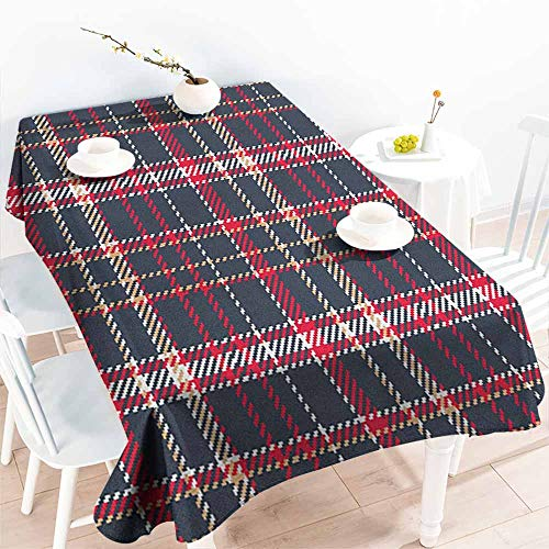 familytaste Plaid,Custom tablecloths Classical Pattern with Traditional Origins Irish Country Retro Style Simple Checkered 52