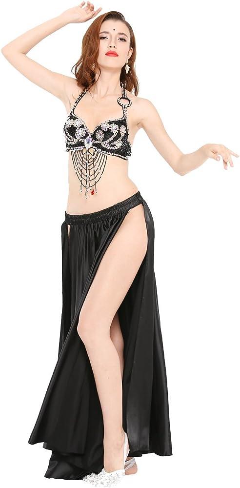 Dance Fairy Mujer Danza del Vientre Hendidura Alta Satín Falda ...