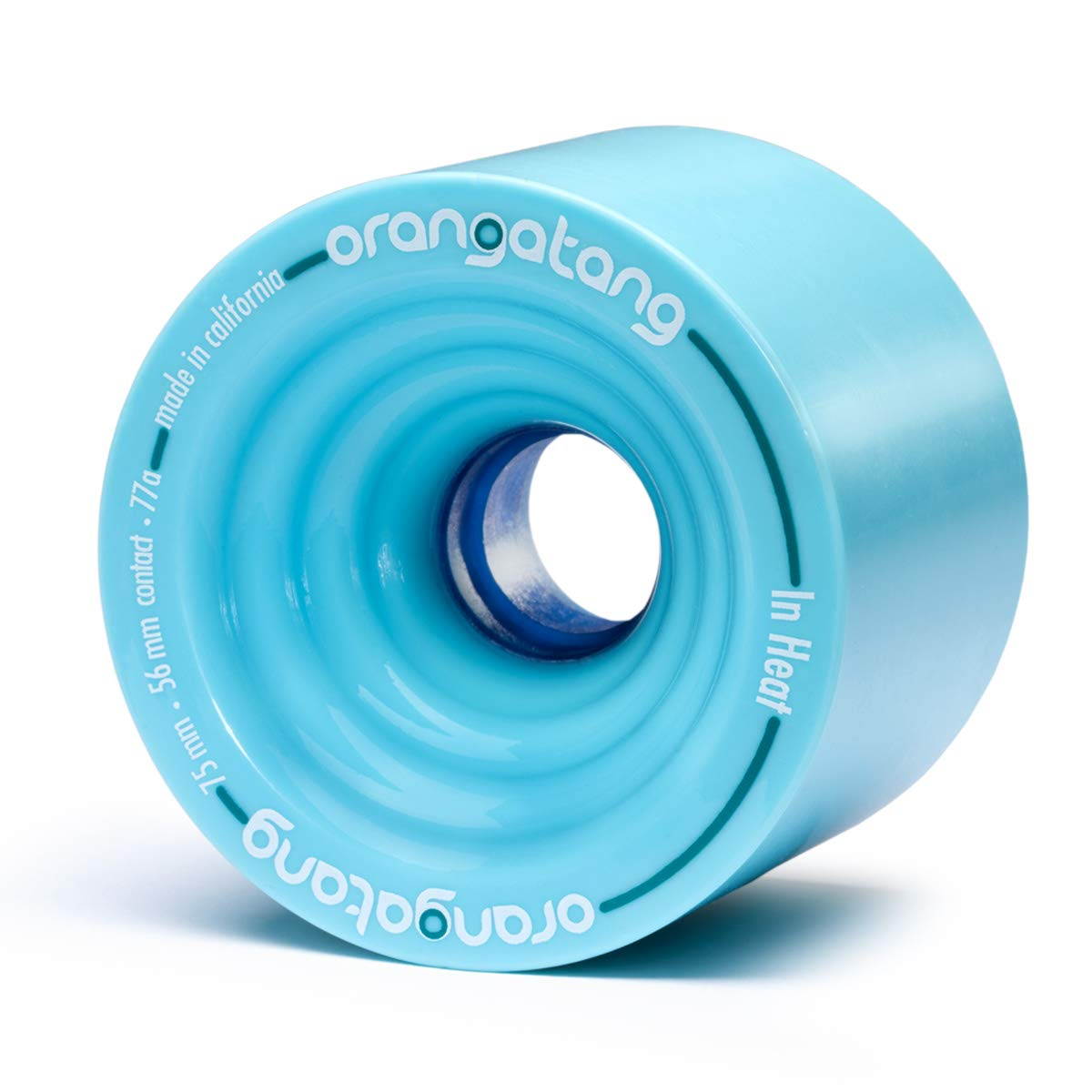 Orangatang in Heat 75 mm 77a Downhill Longboard Skateboard Cruising Wheels w/Loaded Jehu V2 Bearings (Blue, Set of 4) by Orangatang