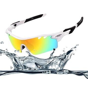 EWIN E11 Gafas de Sol de Deporte Polarizadas, 4 Lentes Intercambiables, TR90 Marco Irrompible, Antiniebla, Lentes Impermeables Gafas
