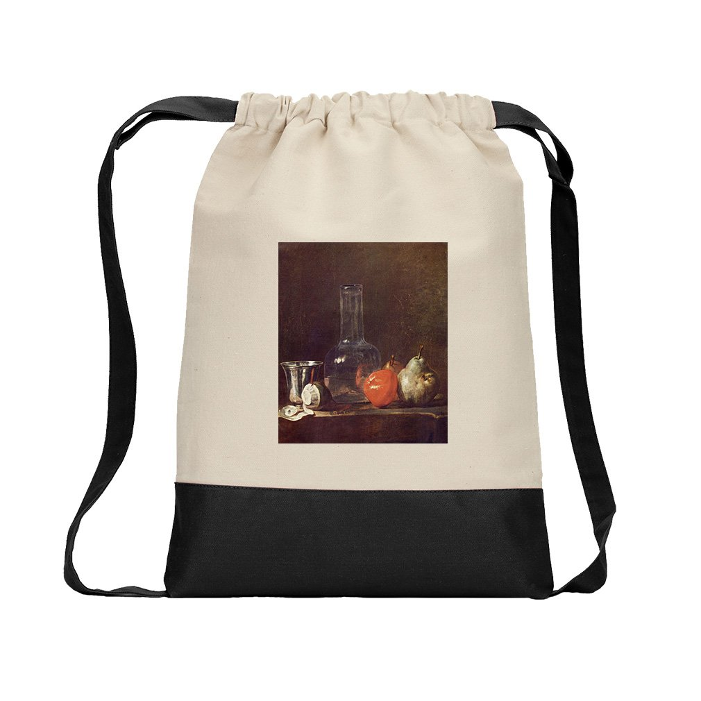 Still Life Glass & Fruits (Chardin) Canvas Backpack Color Drawstring - Black