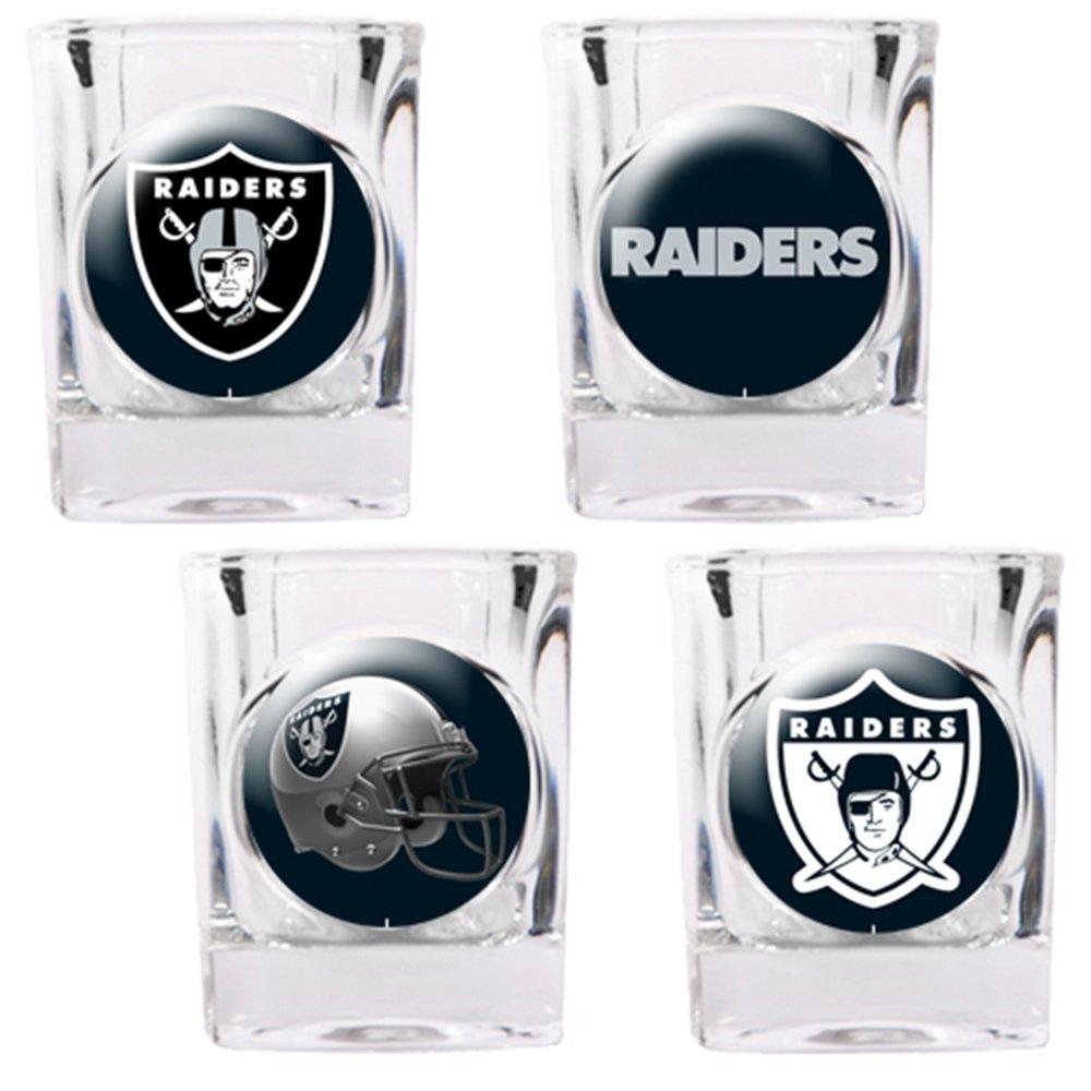 4 Piece NFL Collector's Shot Glass Set NFL Team: Oakland Raiders