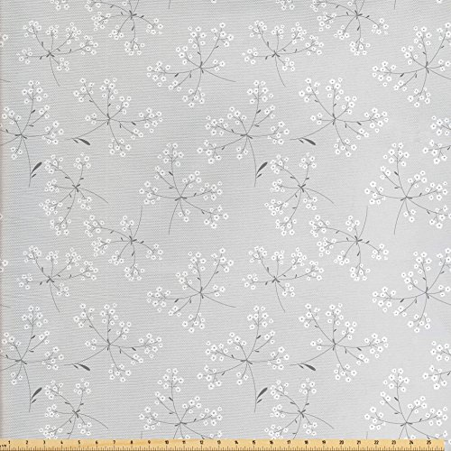 Ambesonne Grey Decor Fabric by The Yard, Flower with Smooth Patterns on Soft Light Background Kitsch Mod Print Artwork, Decorative Fabric for Upholstery and Home Accents Grey White