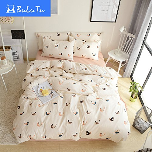 BuLuTu Lovebird Print Twin Duvet Cover Set Cotton Beige Premium Birds  Bedding Cover Sets With 4