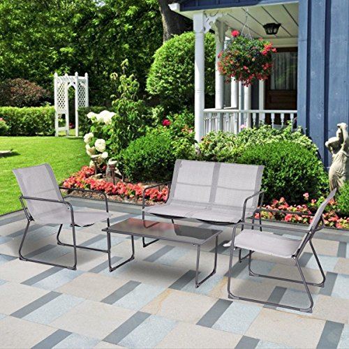 MD Group Table Furniture Set Conversation Tempered Glass & Steel Tube 4Pcs Outdoor Patio by MD Group