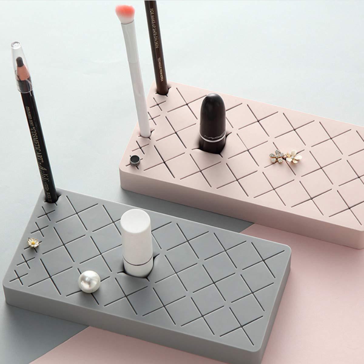 2LL4HM Silicone Lipstick Organizer 18 Space Storage Display For Brush Lipstick Eyebrow pencil Pink