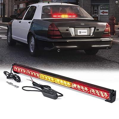 "Xprite 27"" Inch 24 LED Strobe Emergency Traffic Advisor Warning Light Bar w/ 13 Flashing Patterns for Firefighter Vehicles Trucks Cars - Red & Amber/Yellow: Automotive"