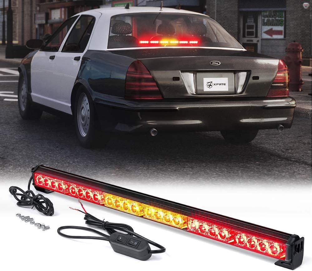 "Xprite 27"" Inch 24 LED Strobe Emergency Traffic Advisor Warning Light Bar w/ 13 Flashing Patterns for Firefighter Vehicles Trucks Cars - Red & Amber/Yellow"