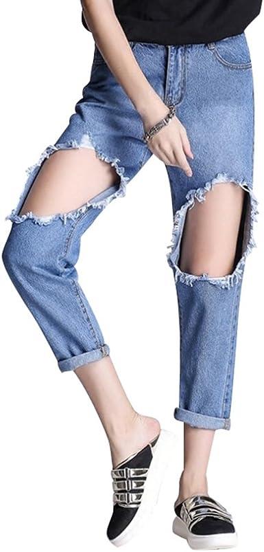 Wanyang Mujeres Skinny Jeans Rotos Pantalones Anchos Jeans Mujer Pantalones Rotos Vaqueros Cintura Alta Amazon Es Ropa Y Accesorios