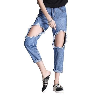 WanYang Mujeres Skinny Jeans Rotos Pantalones Anchos Jeans ...