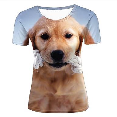 cd67a1604b Women Casual Design 3D Printed Funny Animal Golden Retriever Puppy Short  Sleeve T Shirts Tees XS