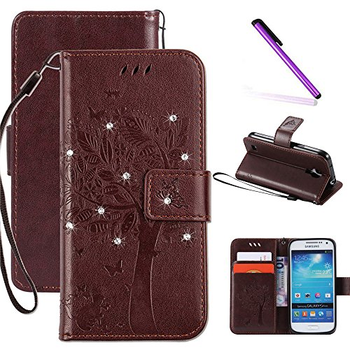 Galaxy S4 Mini Case, LEECOCO Embossed Floral 3D Bling Crystal Diamonds Butterfly with Card Slots Magnetic Flip Stand PU Leather Wallet Case for Samsung Galaxy S4 Mini i9190 Wishing Tree Brown