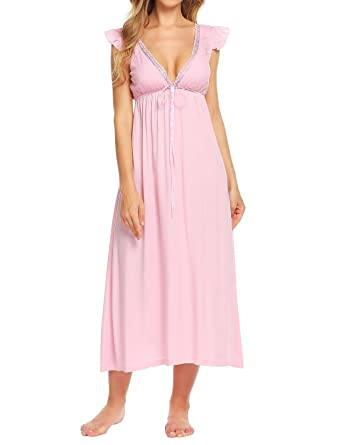 d593e478c0 Imposes Women Ladies Long Nightdress Victorian Nightgown Vintage Sleeveless  Nightie Backless Lace Maxi Dress V Neck Nightshirt Nighties White Pink  Blue  ...
