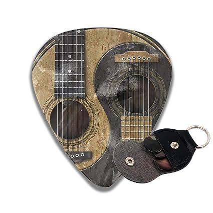 Ftoyou 7 Celluloid Guitar Picks Pick Holder Case 6 Pack Old Worn Acoustic Guitars