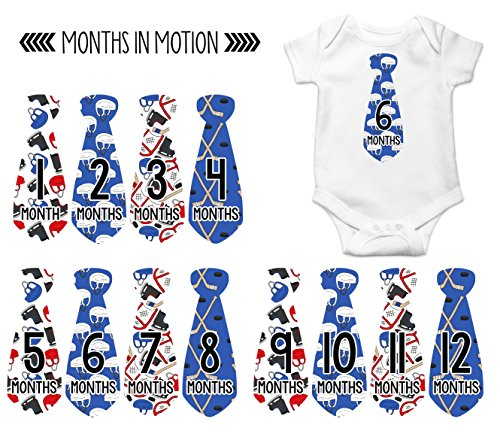 Monthly Baby Stickers Hockey Tie Boy Month Milestone Sticker Months in Motion (775) (775 Stick)