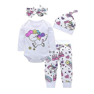Bestow 4 unids bebés niñas niños Ropa bebé de Manga Larga Arco Iris Caballo de Dibujos